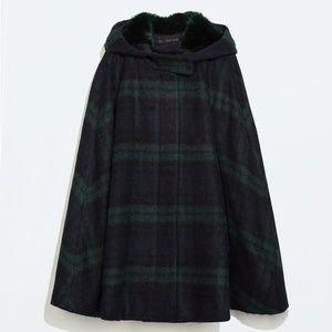 Zara Hooded Plaid Checked Wool Cape